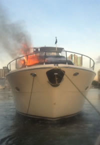 Salvage - Boat on fire.